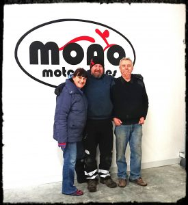 Pip & Carole Mason with Daniel Morris - Proprietor of mono motorcycles & vehicle security