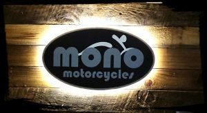 mono motorcycles back lit sign at Row C Unit 5 New Barn, Funtington, PO18 9DA