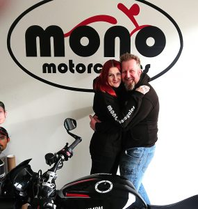 mono motorcycles & vehicle security Proprietor Daniel Morris & Partner Katy Jane