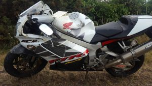 Toni's Honda SP2 after the accident. The dent in the tank being caused during a 30mph accident