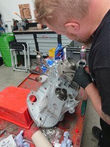 Daniel Morris rebuilding the Buell Firebolt XB12R engine.
