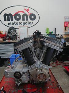The rebuilt Buell Firebolt XB12 R engine.