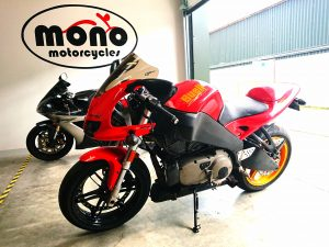 We have had the Buell in the mono motorcycles workshop since April 2018 & she has gone through some dramatic & traumatic changes in that time. Therefore, it was not strange we feel ,that when she was finally ready to go home, a sort of emotional attachment had developed between Daniel, Katy & the Buell.