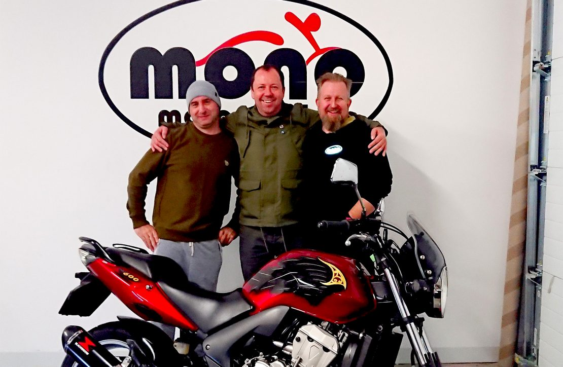 Will C, Daniel Morris of mono motorcycles & Jamie Gladman of J.A.A Custom Paint