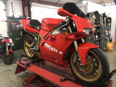 The Ducati 996 is looking fantastic with its bodywork in place & we are very excited about returning her to our customer upon completion.