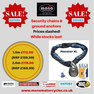 Security chain & ground anchor sale! Prices slashed! While stocks last! #MotorcycleSecurity #GroundAnchor #MotorbikeSecurity #MotorcycleSecurityChain #MotorbikeSecurityChain T: 01243 576212 / 07899 654446 info@monomotorcycles.co.uk