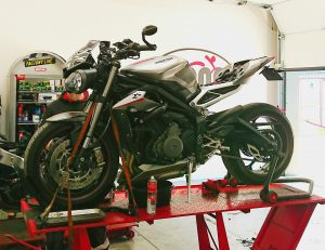 We end our week with a Triumph 765 RS with us for a major service & valve clearance check.