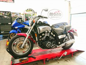 We welcomed another regular customer & supporter of mono motorcycles Yamaha VMAX to the workshop on Tuesday.