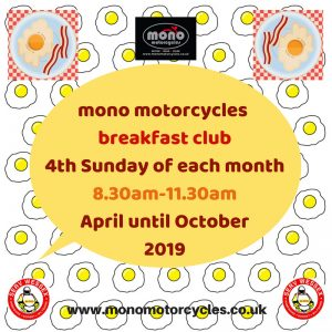 Join us on Sunday 23rd June for a hearty breakfast, or drop in for a pit stop. We look forward to welcoming you on the 23rd June, 8.30-11.30am at the mono motorcycles workshop.