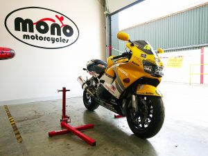 The bright yellow Nastro Azzuro Rossi Liveried Honda Fireblade joined us on Thursday to have a 90 degree valve fitted to the front.