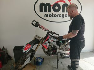Daniel was able to make a start on the Honda CRF450.