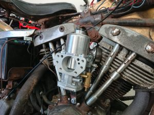 The Harley Shovelhead has a new carb fitted & is nearly ready to go home.