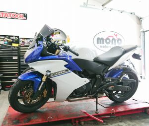 Tuesday was a super busy day, as we were also joined by a Honda CB600F for new chain & sprockets & seat cable repair.