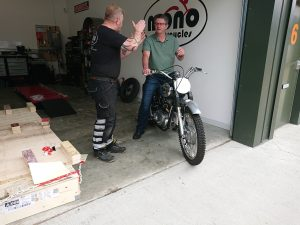 Thursday afternoon, our TRIBSA owner received a lesson in the fine art of kick starting a 1954/1956 hybrid British motorcycle as he took her home.