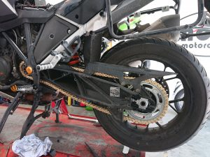 We fitted new chain & sprockets to the KTM while she was with us.