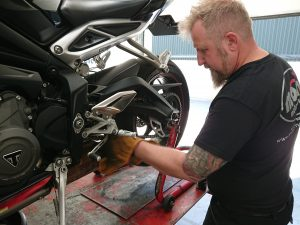 On Thursday Daniel managed to take a moment to attend to the Triumph 765 RS. Oil & filter change & chain clean.