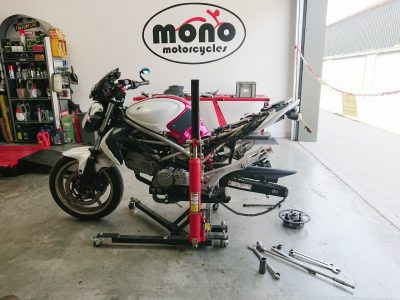 When Daniel returned to the workshop on Wednesday, first up was a Suzuki Gladius which joined us for some new shoes in advance of a ride to Snetterton for BSB.