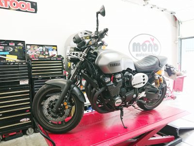 Thursday morning, our first guest was a Metallic Grey Yamaha XJR 1300 60th Anniversary Cafe Racer, which joined us for servicing.