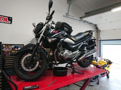 Thursday continued our Japanese theme for the week, with a Suzuki GW250 which joined us for servicing.