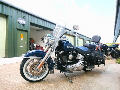 Our other guest on Tuesday was a Harley Davidson Heritage Softail. The Softail joined us for a full service, new white wall tyres & an MOT.
