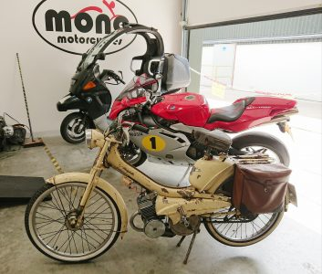 A Mobylette Moped, MV August F4 & BMW C1. mono motorcycles; everyone is welcome!