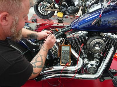 We were already aware that the fault was electrical & Daniel had the capacity to plug this make & model into our TEXA diagnostic machine, an invaluable piece of equipment for modern motorcycle diagnosis.