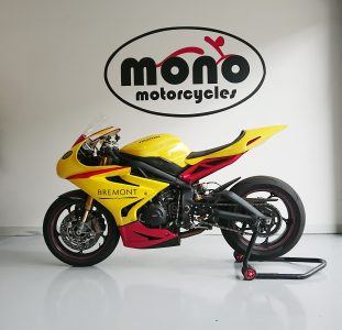 Later on Monday, the popping yellow Triumph 675 Daytona track bike joined us again for new rubber & track prep.