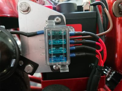 Daniel had drawn the wiring diagram for the lighting & built & populated a fuse cradle for the lighting system.