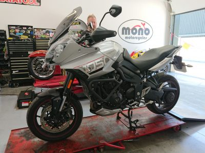 Our regular customers Triumph Tiger Sport 1050 joined us for interim servicing & new front brake pads.