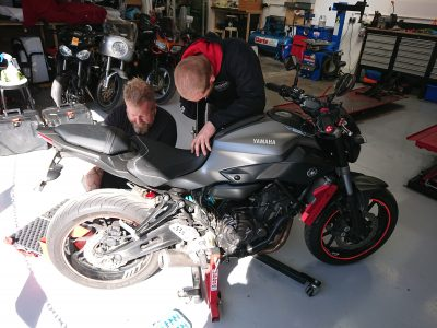 Daniel then readied the Yamaha MT07 for fork oil replacement & headstock bearings