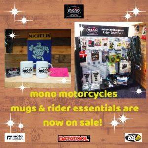 If you are looking for some last minute Christmas gift ideas for the biker in your life, or just fancy treating yourself; we have mono motorcycles hoodies & t-shirts on sale, alongside our delicious 'Steel Horse Coffee' beans & what better way to savour a delicious coffee, than in a mono motorcycles mug.