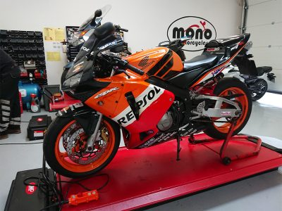 First up on the ramp this week, the Repsol Honda CBR 600. The CBR joined us  for servicing and an arranged MOT