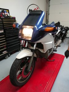The 1986 BMW K100 RS joined us with an electrical fault assessment.