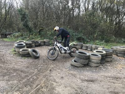 The track itself had a manmade section with various logs, tyres & concrete constructions to ride over. This part of the trials centre really helped to hone slow skills riding & taught Zac some great control manoeuvres.