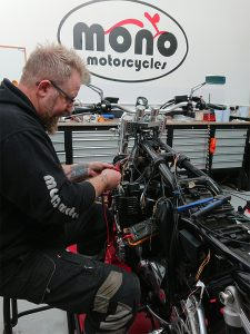 With the motogadget m.unit blue having been installed, the wiring diagram drawn, the switch gear, charging system & lights having been traced through the frame; the XJR 1300 now will have the loom inputs added.