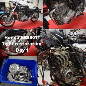 Our main project of this week has been the 'light restoration' of 'Spartacus' (for that is his name) the rare Honda GB500TT.