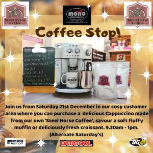 As we head towards Christmas, we are having a soft launch of our mono motorcycles Saturday 'Coffee Stop!' on Saturday 21st December.