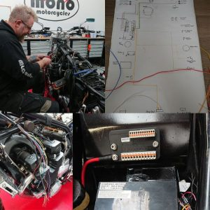 Drawing a wiring diagram is critical to the build. It's very easy to become lost when wiring a motorcycle, even with the simplified motogadget system.
