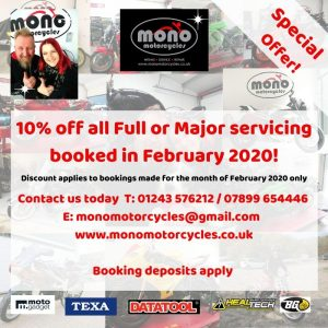 10% off any full or major motorcycle service at mono motorcycles during the month of February 2020.