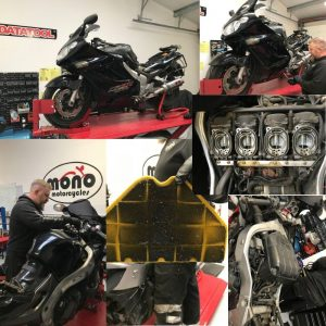 In addition, with the fuel having gone off & the tank needing draining/cleaning, headstock bearings found to be worn, chain & sprockets on the verge of needing replacement & the carbs most definitely in need of some TLC; we advised our customer of the additional needs of his ZZR.