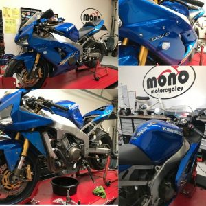 On Friday we welcomed the cobalt blue Kawasaki Ninja ZX6R to the mono motorcycles workshop for a Major Service & some TLC.