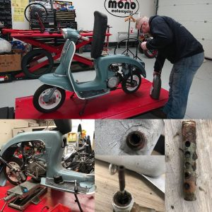 On Monday we welcomed a rare Malanca Vespetta Scooter to the mono motorcycles workshop as it wouldn't start.