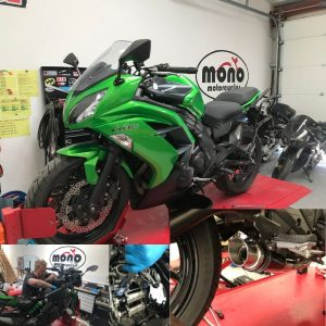 This week we welcomed a lovely bright green Kawasaki ER-6f to the mono motorcycles workshop.