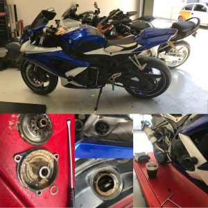 The second Suzuki GSXR 750 arrived at the workshop on Wednesday & was booked in with us to assess a starting issue.