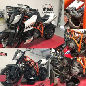 Also on Monday, a KTM 990 Superduke R joined us for a major valve clearance service.