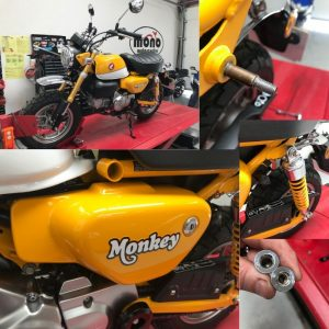 On Thursday we welcomed a simply eye popping custard yellow Brand new Honda Monkey Bike in to the workshop, to help helicoil a rounded bolt in the rear shock. Such a fun & stunning little bike.