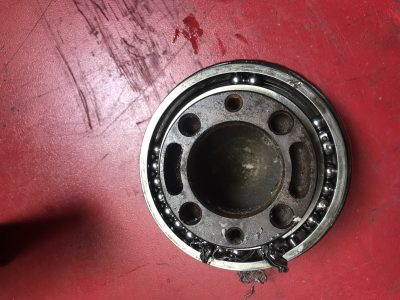 The bearing had completely collapsed & in doing so had destroyed the seal.