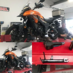 On Monday, we welcomed 'Tango' the bright orange Honda CB500X to the mono motorcycles workshop